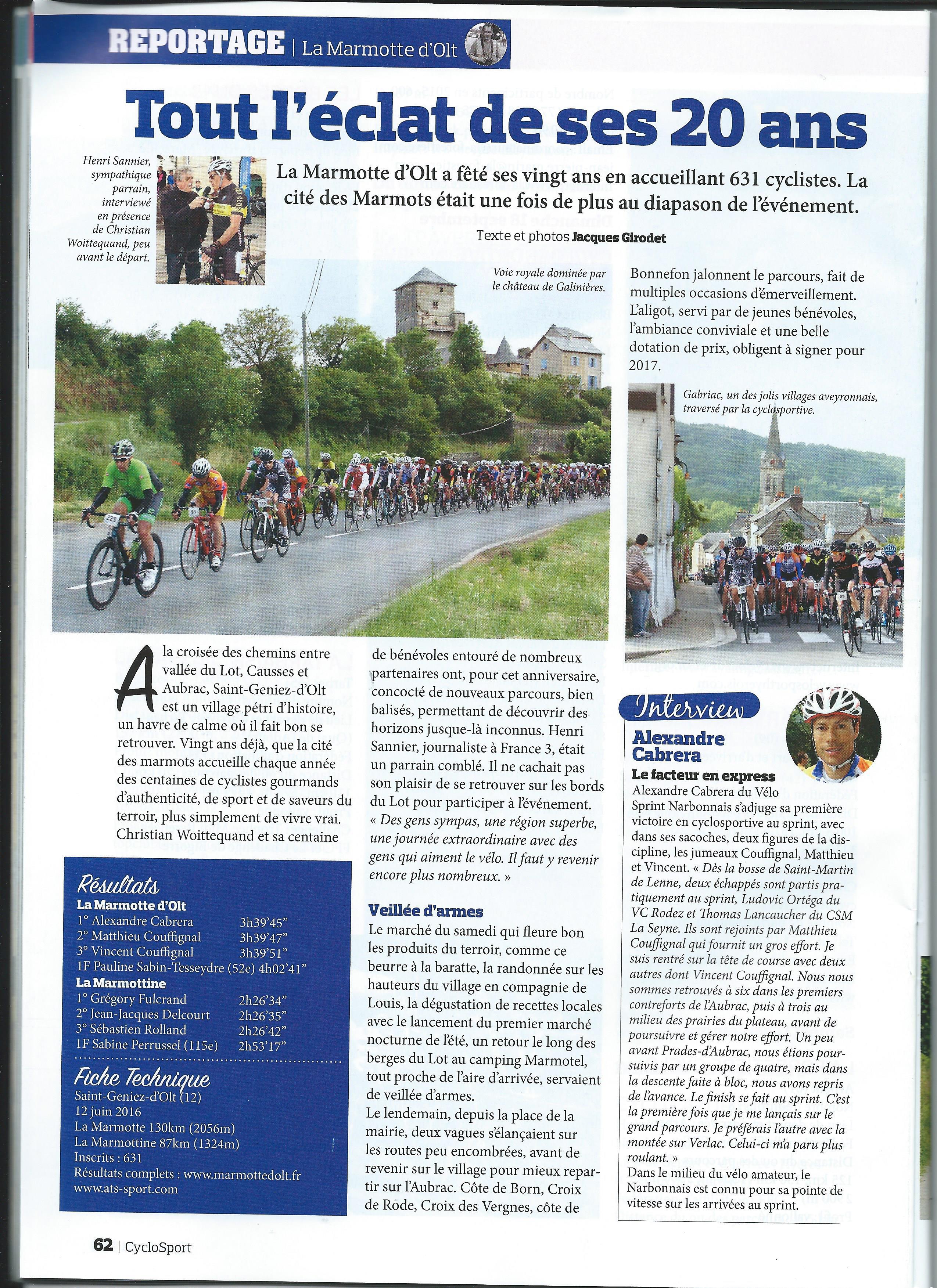 Cyclosport reportage 20° Marmotte dOlt